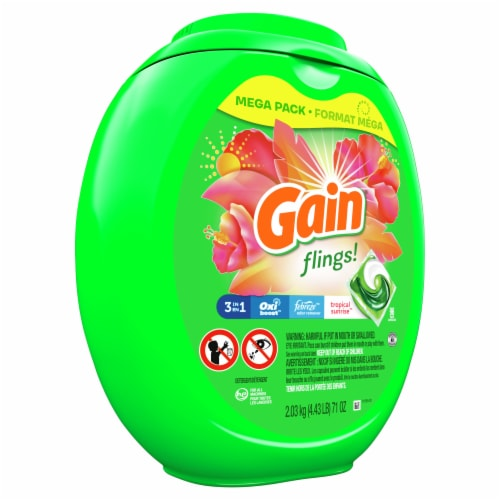 Gain Flings! +AromaBoost Tropical Sunrise 3-in-1 Laundry Detergent Pacs Perspective: front