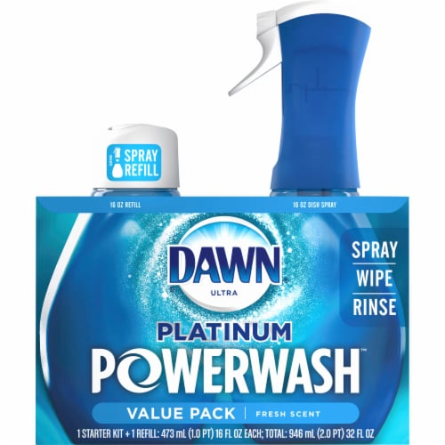 Dawn Platinum Powerwash Fresh Scent Dish Spray Starter Kit & Refill Perspective: front