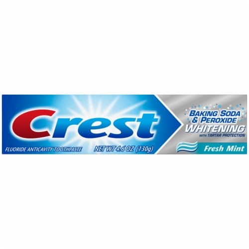 Crest Baking Soda & Peroxide Whitening Fresh Mint Fluoride Anticavity Toothpaste Perspective: front