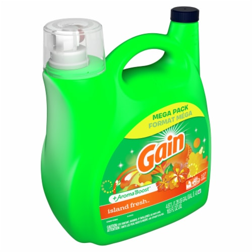 Gain Laundry Detergent Liquid Island Fresh Scent 107 Loads Perspective: front