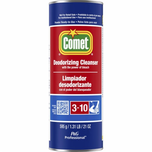 Comet Deodorizing Cleanser with Bleach, Powder, 21 Oz Canister 32987EA Perspective: front