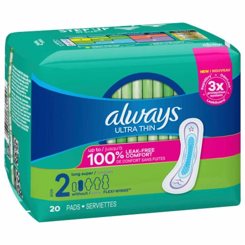 Always Ultra Thin Size 2 Super Long Unscented Pads with Wings Perspective: front