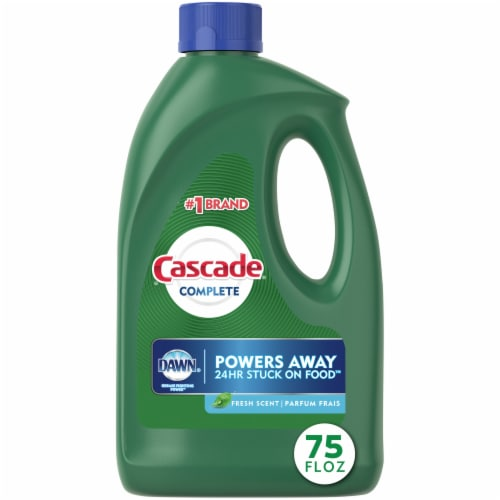 Cascade Complete with Dawn Grease Fighting Power Fresh Scent Dishwasher Detergent Gel Perspective: front