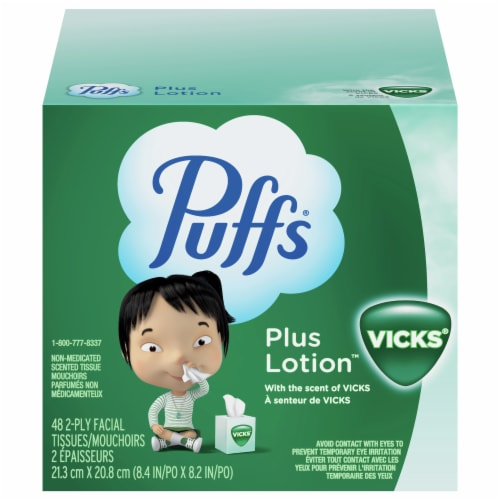 Puffs Plus Lotion with Vicks Facial Tissue Perspective: front