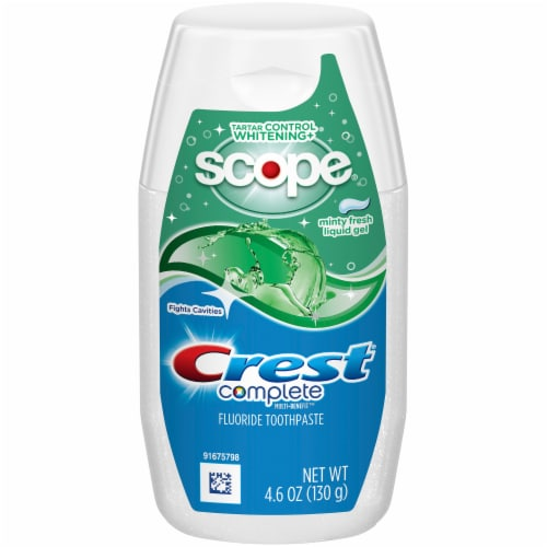 Crest Complete Multi-Benefit Whitening Toothpaste Minty Fresh Flavor Liquid Gel Toothpaste Perspective: front