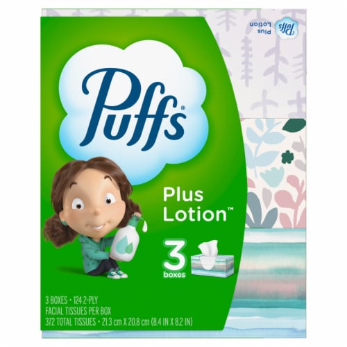 Puffs Plus Lotion White Facial Tissues Perspective: front