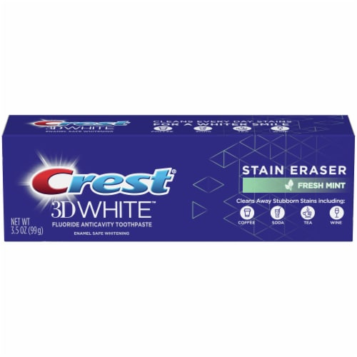 Crest 3D White Stain Eraser Whitening Toothpaste Fresh Mint Perspective: front