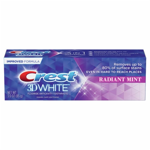 Crest 3D White Whitening Toothpaste Radiant Mint Perspective: front