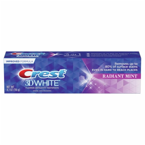 Crest 3D White Radiant Mint Whitening Toothpaste Perspective: front