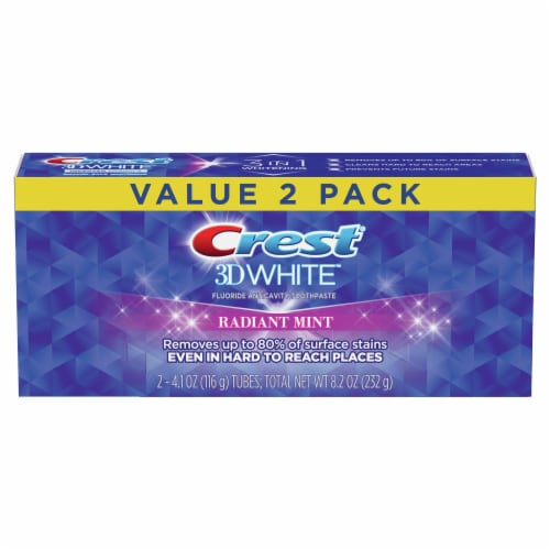 Crest 3D White Whitening Toothpaste Radiant Mint Twin Pack Perspective: front