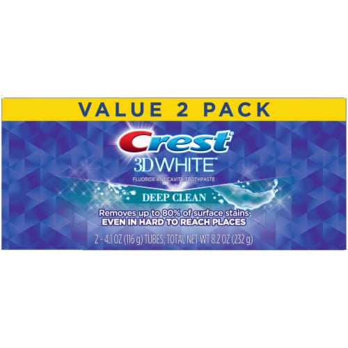 Crest 3D White Whitening Toothpaste Deep Clean Twin Pack Perspective: front