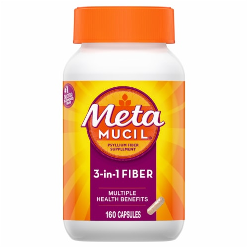 Metamucil 3 In 1 Daily Fiber Supplement Capsules Perspective: front