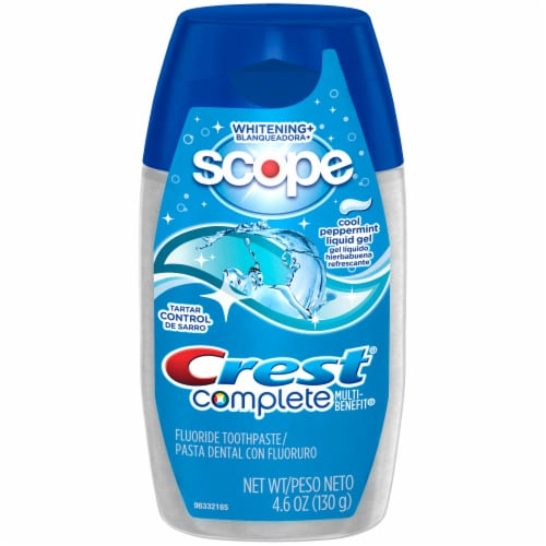 Crest Complete Whitening + Scope Cool Peppermint Liquid Gel Toothpaste Perspective: front