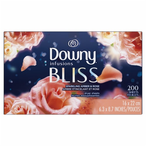 Downy Infusions Bliss Sparkling Amber and Rose Fabric Softener Dryer Sheets Perspective: front