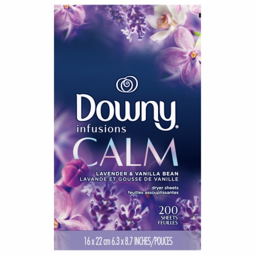 Downy Infusions Calm Lavender & Vanilla Bean Dryer Sheets Perspective: front