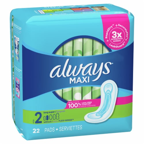 Always Size 2 Long Super Maxi Pads Perspective: front