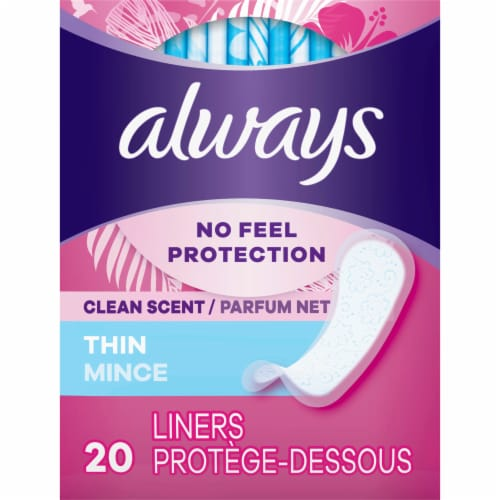 Always Women's Thin Clean Scent Regular Daily Liners 20 Count Perspective: front