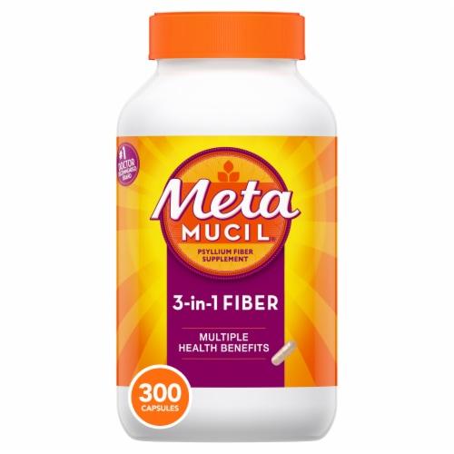 Metamucil 3-in-1 Psyllium Fiber Supplement Capsule Perspective: front