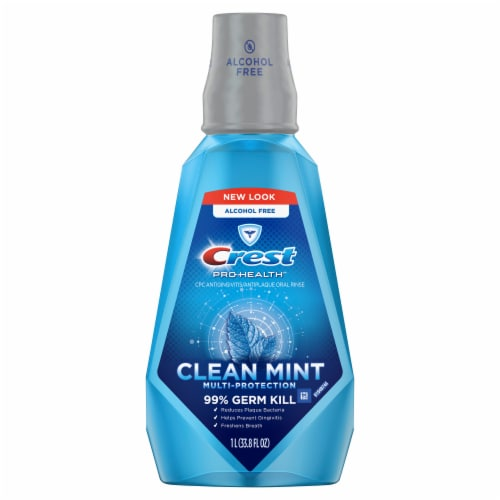 Crest Pro-Health Mouthwash Alcohol Free Clean Mint Multi-Protection Perspective: front