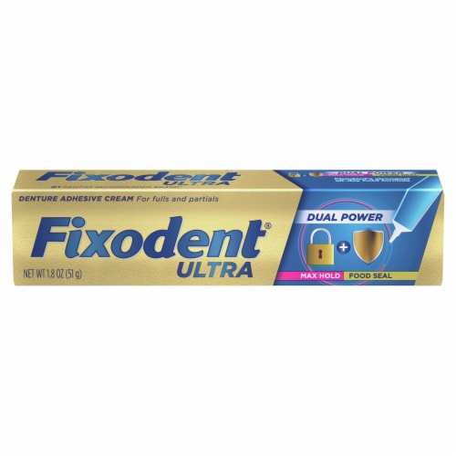 Fixodent Ultra Dual Power Denture Adhesive Cream Perspective: front