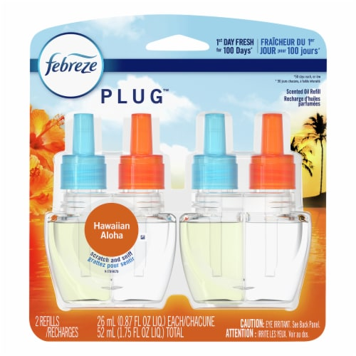 Febreze Plug Hawaiian Aloha Air Freshener Scented Oil Refill Perspective: front