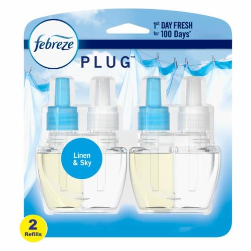 Febreze Odor-Eliminating Fade Defy Plug Linen & Sky Air Freshener Refill Perspective: front