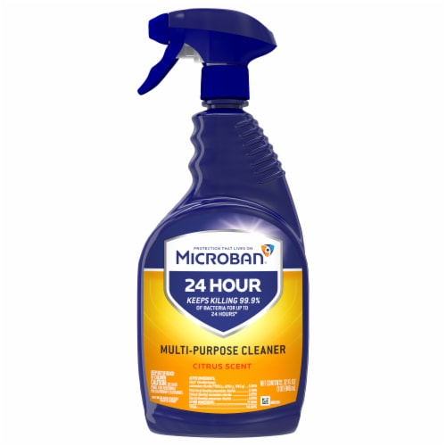 Microban 24 Hour Multi-Purpose Citrus Scent Cleaner and Disinfectant Spray Perspective: front