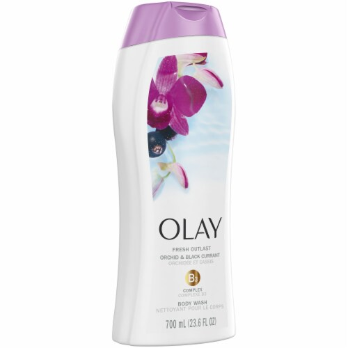 Olay Fresh Outlast Orchid & Black Currant Body Wash Perspective: front