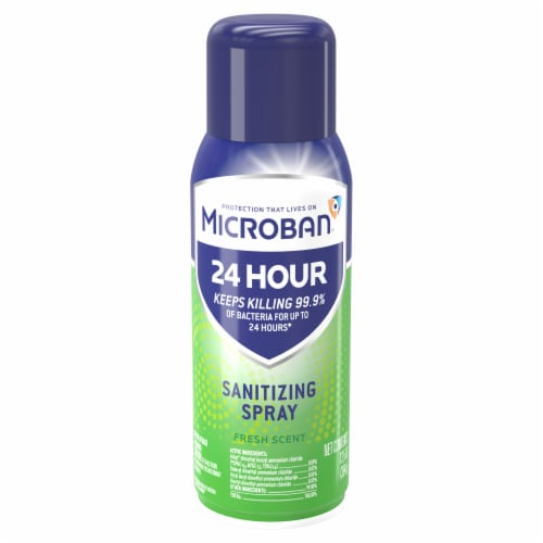 Microban 24 Hour Fresh Scent Disinfectant Sanitizing Spray Perspective: front