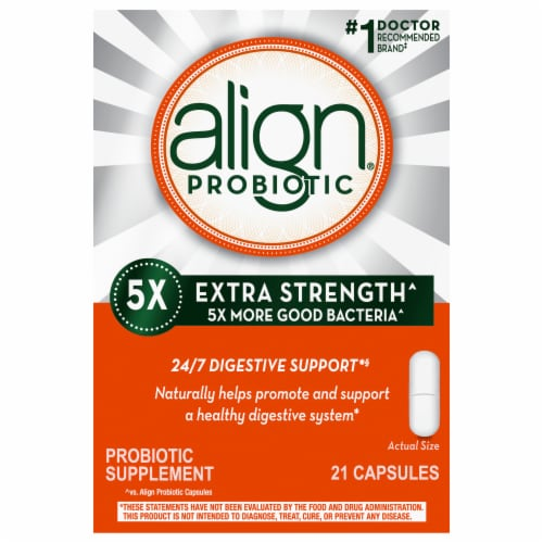 Align 5X Extra Strength Digestive Health Probiotic Supplement Capsules Perspective: front