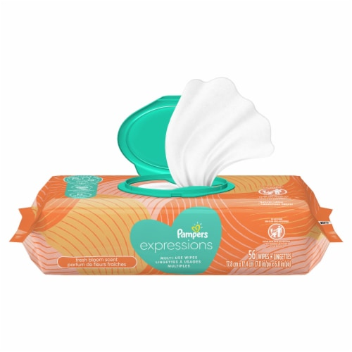 Pampers Expressions Fresh Bloom Baby Wipes Pop-Top Pack Perspective: front