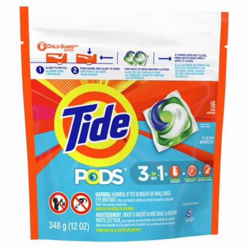 Tide Pods Clean Breeze Liquid Laundry Detergent Pacs Perspective: front