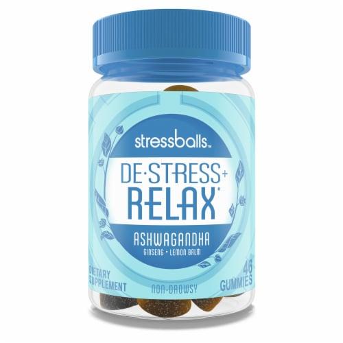 Stressballs De-Stress + Relax Lemon Balm Ginseng Gummies Perspective: front