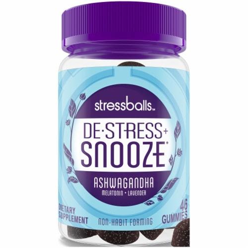 Stressballs De-Stress + Snooze Blackberry Flavor Lavender Melatonin Gummies Perspective: front