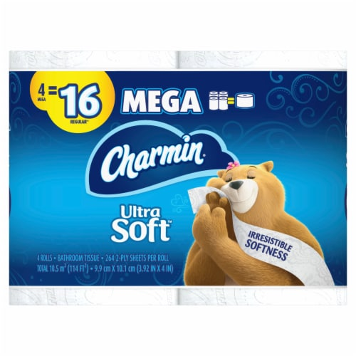 Charmin® White Ultra Soft 4-Pack Bath Tissue Perspective: front