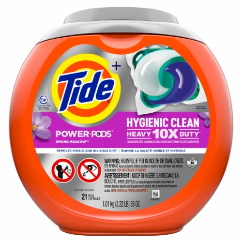 Tide Spring Meadow Hygienic Clean Heavy Duty Power Pods Perspective: front
