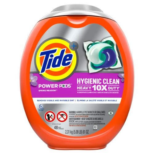 Tide Power Pods Hygienic Clean Heavy Duty Spring Meadow Perspective: front