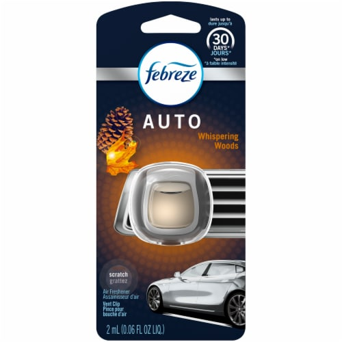 Febreze Auto Whispering Woods Air Freshener Vent Clip Perspective: front