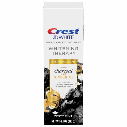Crest Charcoal 3D White Whitening Therapy with Ginger Oil Zesty Mint Toothpaste Perspective: front