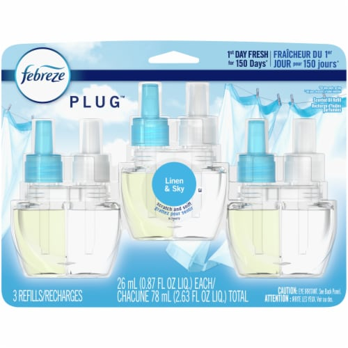 Febreze Plug Linen & Sky Plug Air Freshener Scented Oil Refill Perspective: front