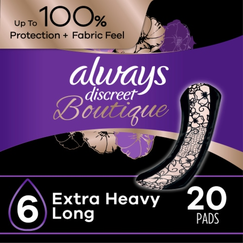 Always Discreet Boutique Size 6 Extra Heavy Long Incontinence Pads Perspective: front
