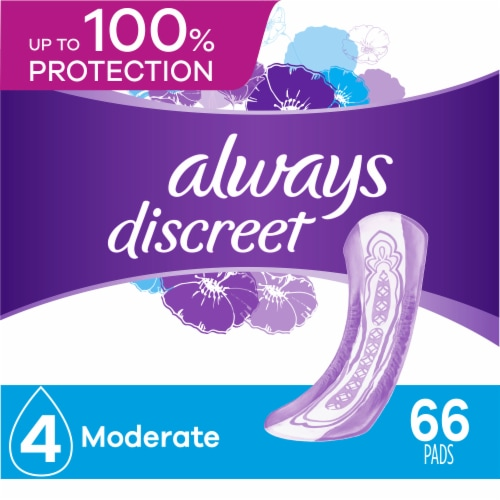 Always Discreet Incontinence Pads for Women Moderate Absorbency Perspective: front
