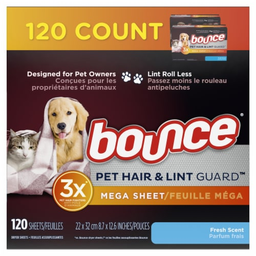 Bounce Pet Hair and Lint Guard Fresh Scent Dryer Sheets Perspective: front