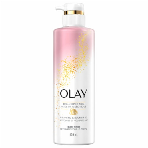 Olay Cleansing & Nourishing Vitamin B3 and Hyaluronic Acid Body Wash Perspective: front