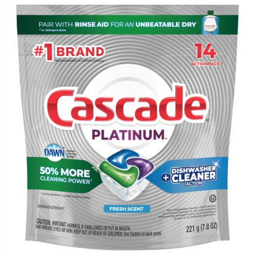 Cascade Platinum Fresh Scent Dishwashing ActionPacs Perspective: front