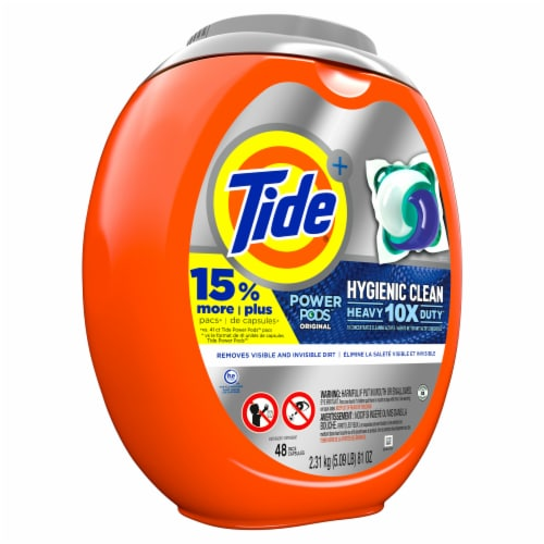 Tide Power Pods 10X Heavy Duty Hygienic Clean Original Laundry Detergent Pacs Perspective: front
