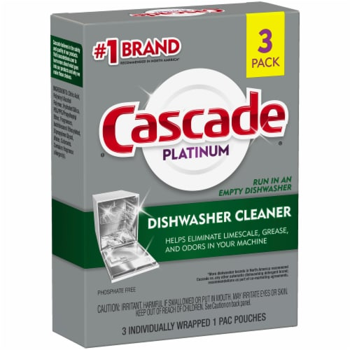 Cascade Platinum Auto Dishwasher Cleaner Pacs Perspective: front