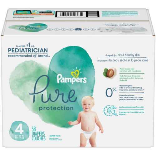 Pampers Pure Protection Size 4 Baby Diapers Perspective: front