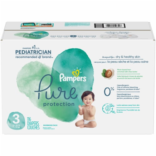 Pampers Pure Protection Size 3 Baby Diapers Perspective: front