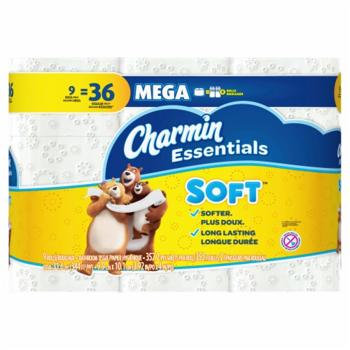 Charmin Essentials Soft Mega Roll Bath Tissue Perspective: front